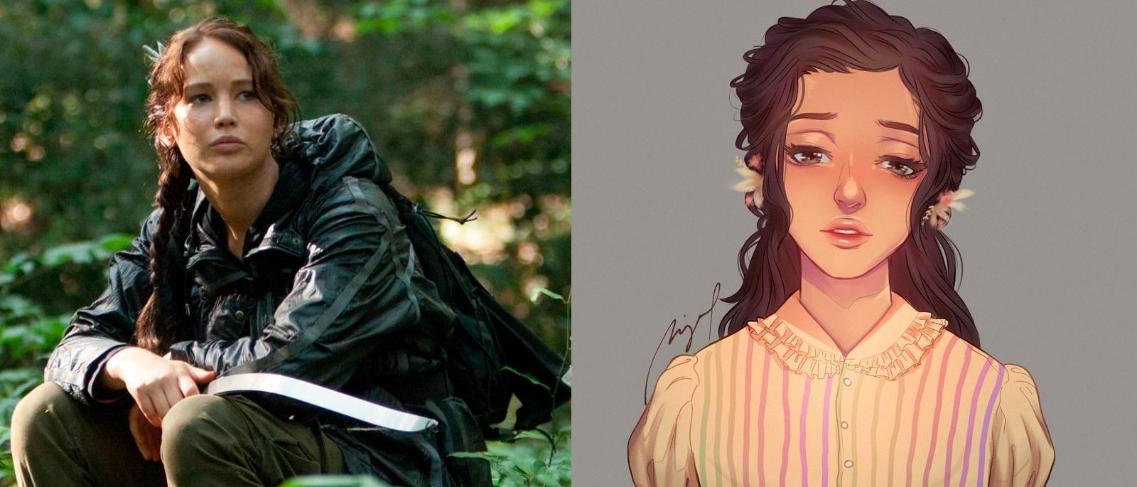Katniss de Jogos Vorazes e Lucy Gray de A Cantiga dos Pássaros e das Serpentes