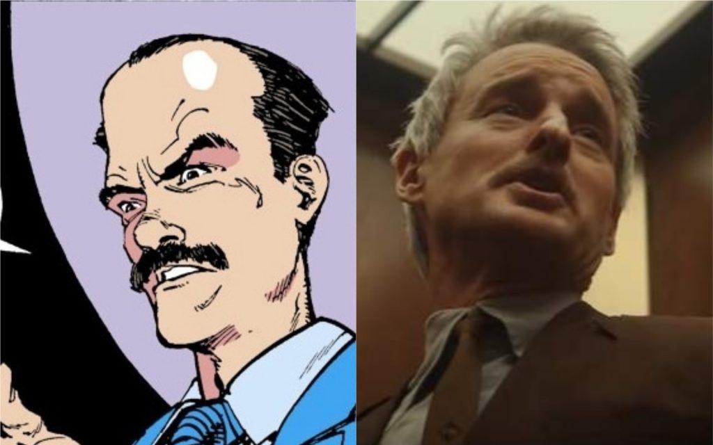 À esquerda, Mobius M. Mobius nos quadrinhos da Marvel; à direita, o personagem na série Loki, interpretado por Owen Wilson