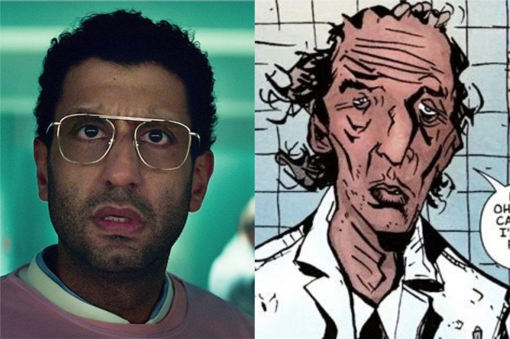 À esquerda, Adeel Akhtar como Dr. Singh; à direita, Dr. Singh nos quadrinhos de Sweet Tooth (Imagem: Reprodução/Netflix | DC Comics)