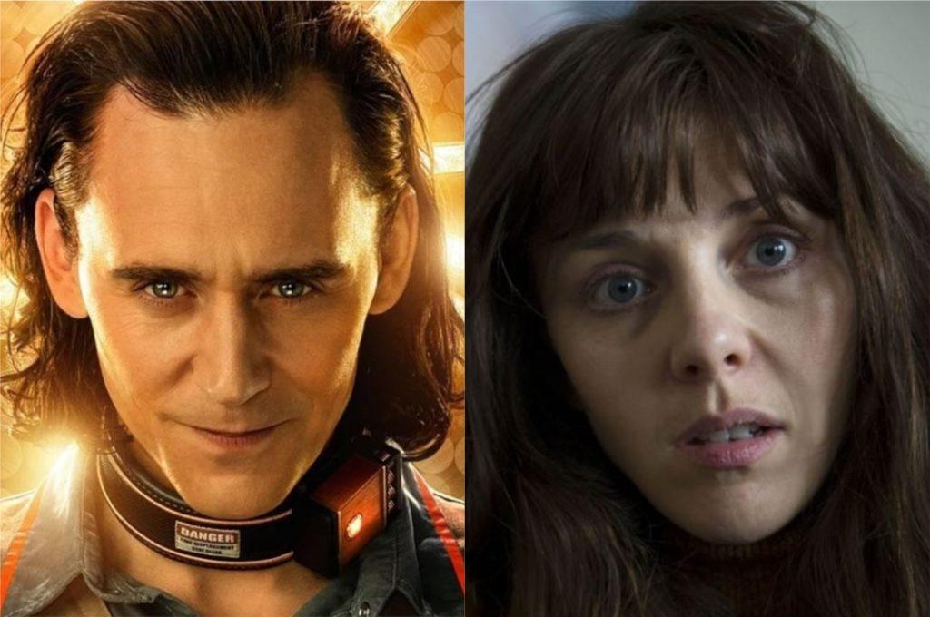À esquerda, Tom Hiddleston como Loki; à direita, Sophia Di Martino como Amy na série Flowers (Imagem: Reprodução/Marvel Studios | Endemol Shine UK)