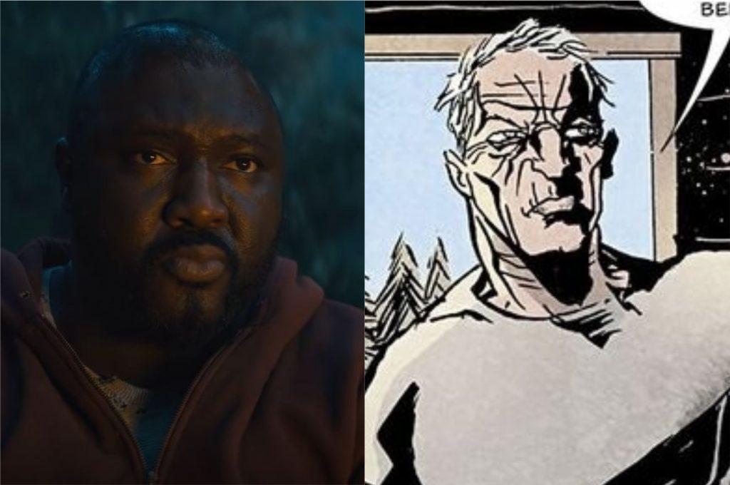 À esquerda, Nonso Anozie como Tommy Jepperd; À direita, Tommy Jepperd nos quadrinhos de Sweet Tooth (Imagem: Reprodução/Netflix | DC Comics)